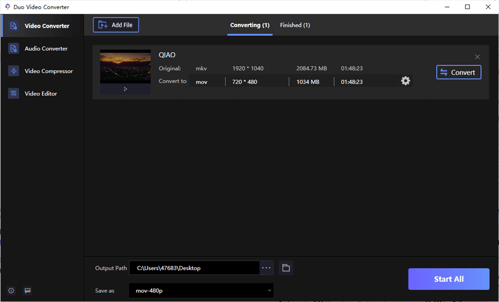 Drag and Drop Video to Duo Video Converter