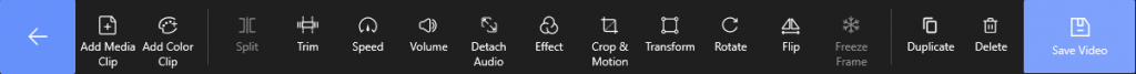 Video Editing Tool Bar