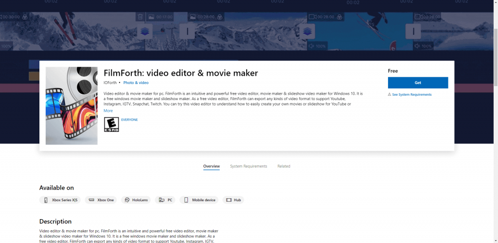 Download FilmForth from Microsoft Store