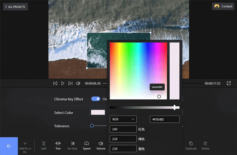 Choose the Color on Chroma Key Effect