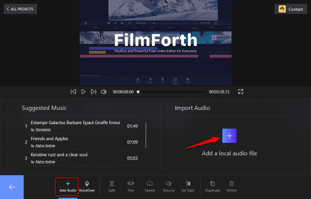 How to Add Audio to the Video on FilmForth
