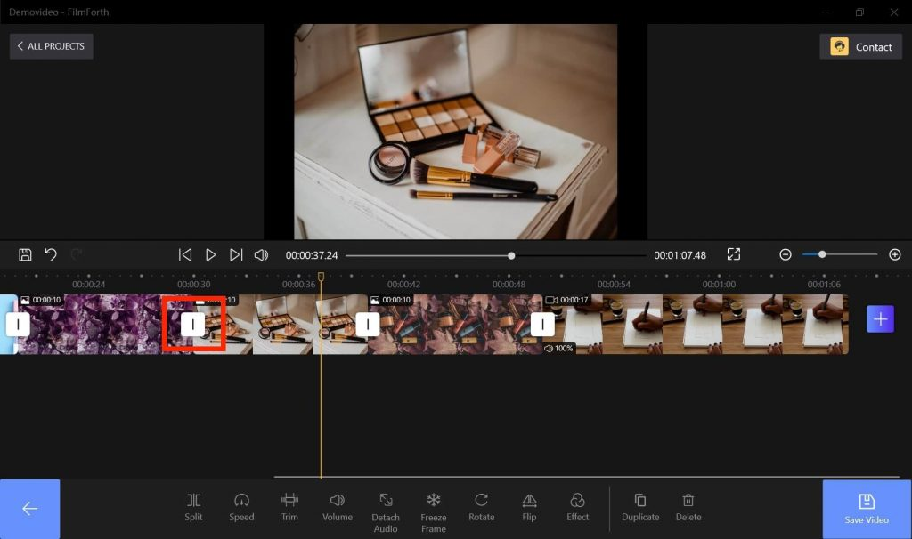 Add Transitions to A Video on FilmForth