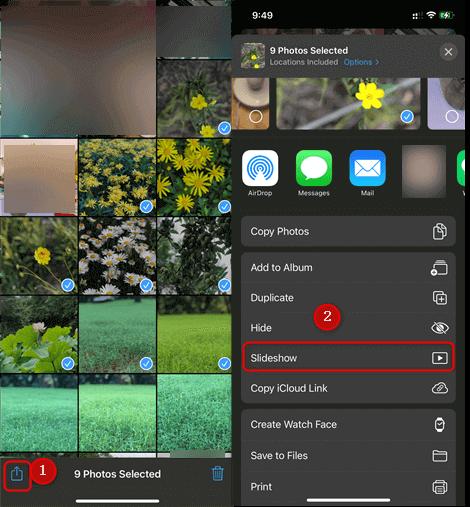 Choose Photos to Make Slideshow