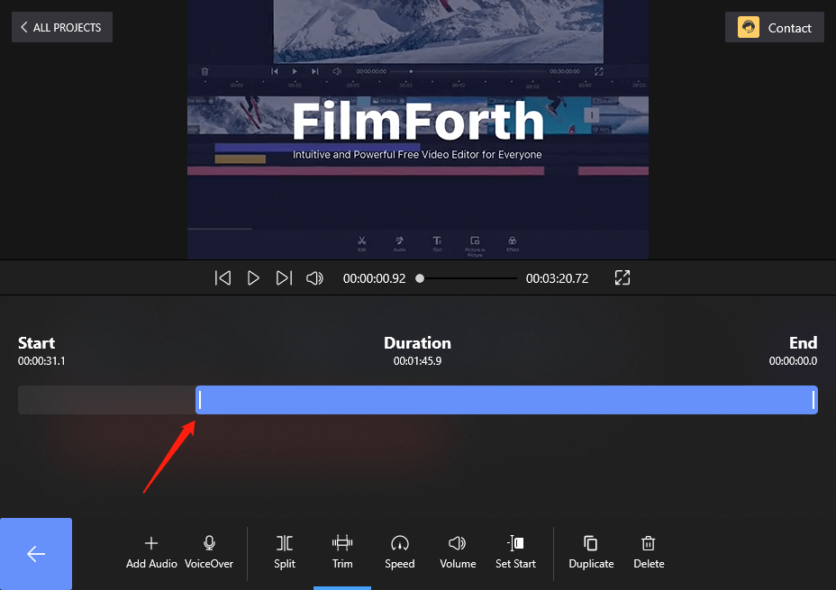 Change the Start-up of An Audio on FilmForth