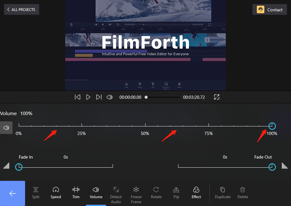 Drag the Volume Bar to Change the Video Volume