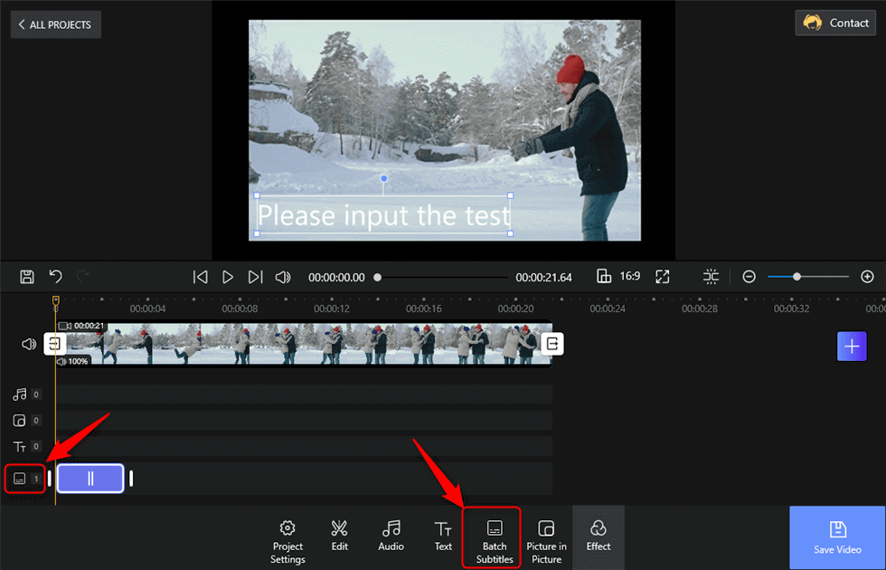 Tap the Batch Subtitles to Add Subtitles