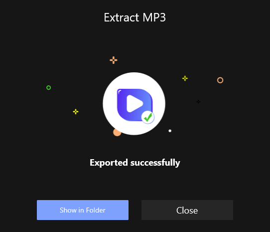 Extract MP3 Successfully