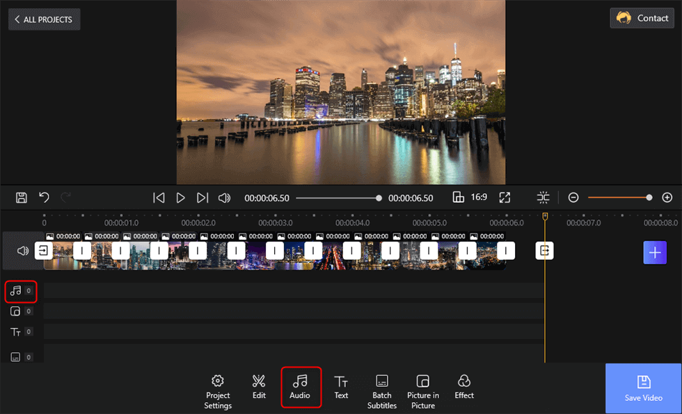 Tap the 2 Options to Add Audio to Slideshow