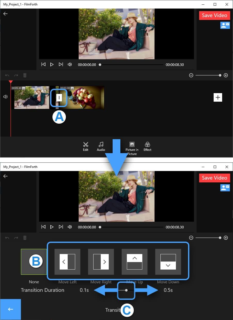 Using transitions in FilmForth