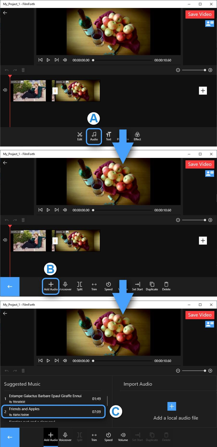 Add Audio from the FilmForth Library
