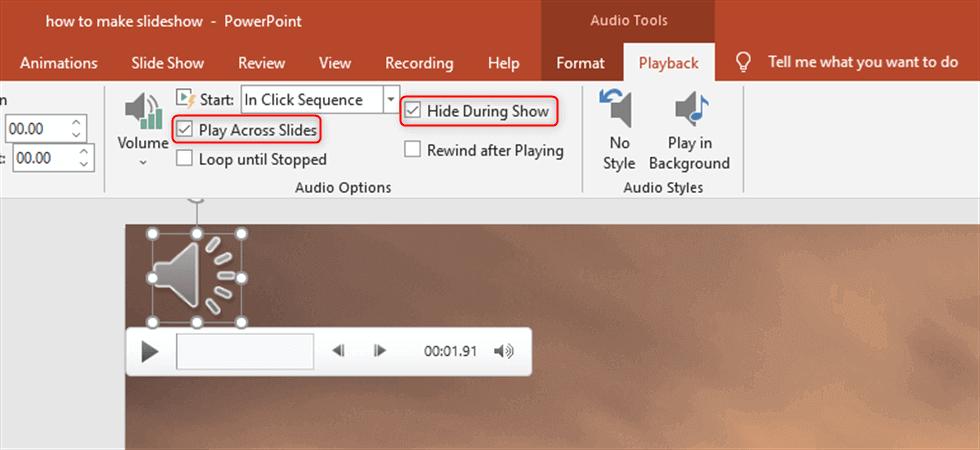 Set the Audio