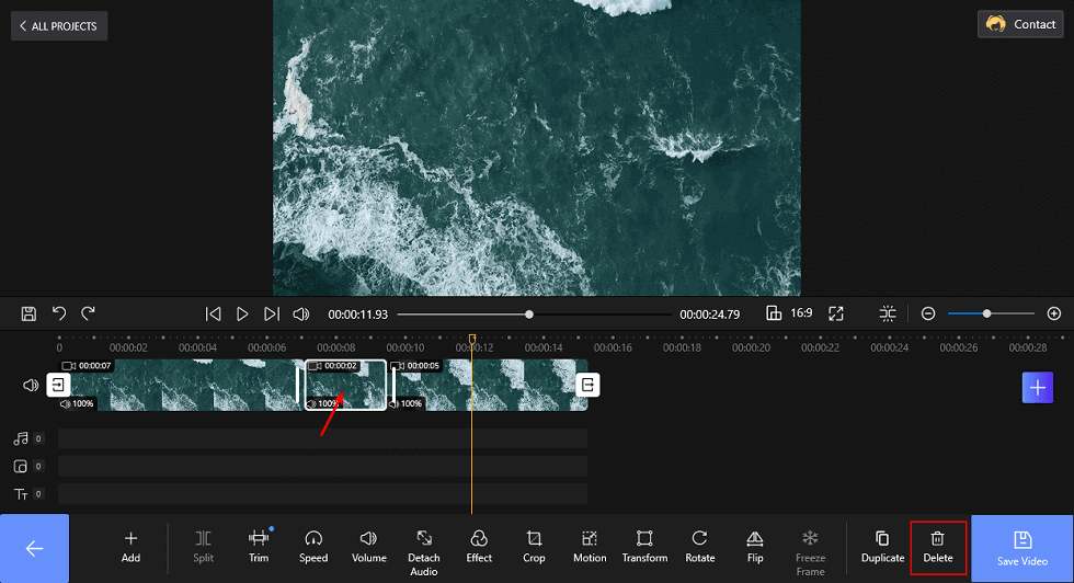 Trim the Video in the Middle