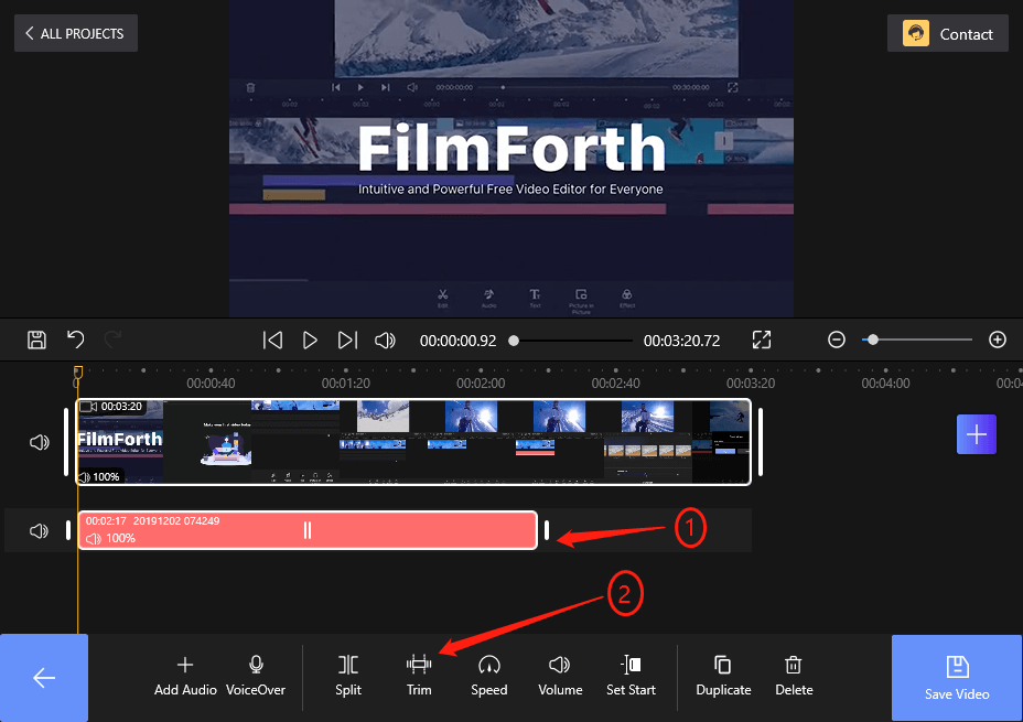 How to Trim the Audio on FilmForth