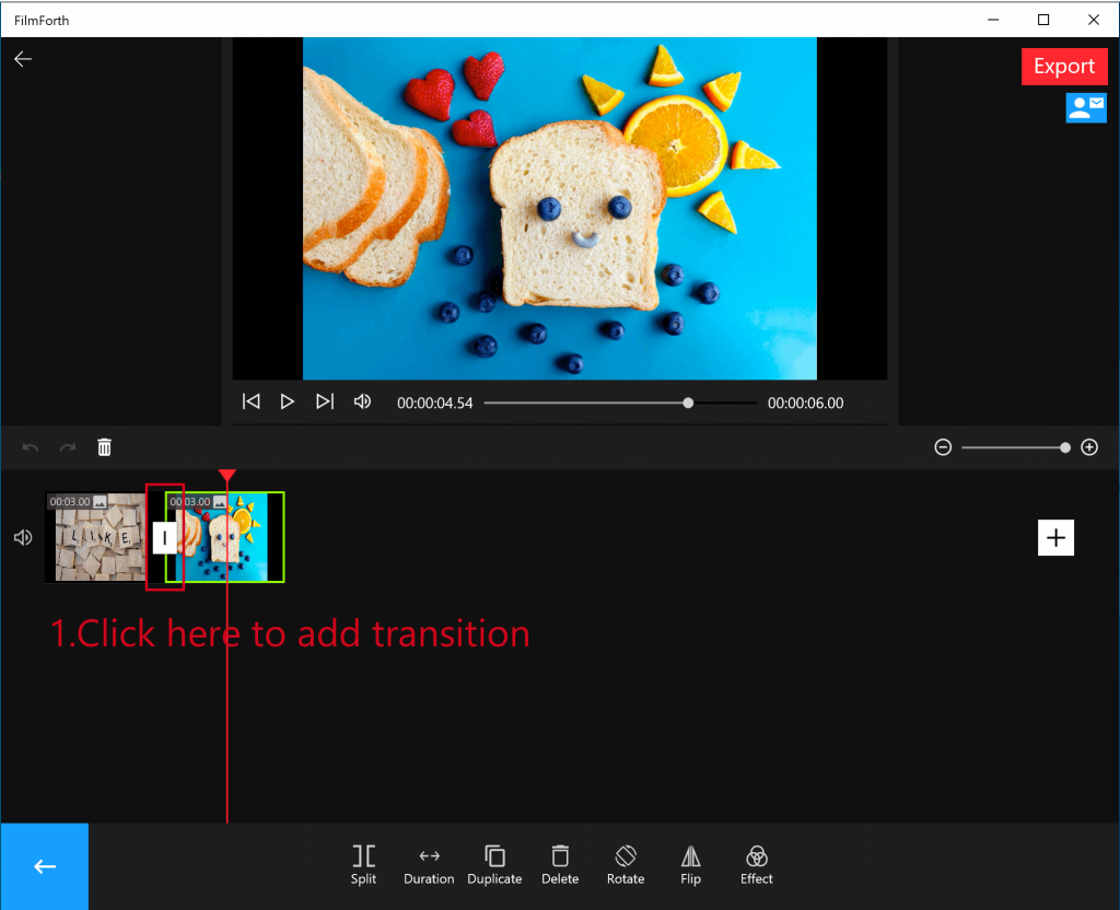 Add transations to videos with FilmForth
