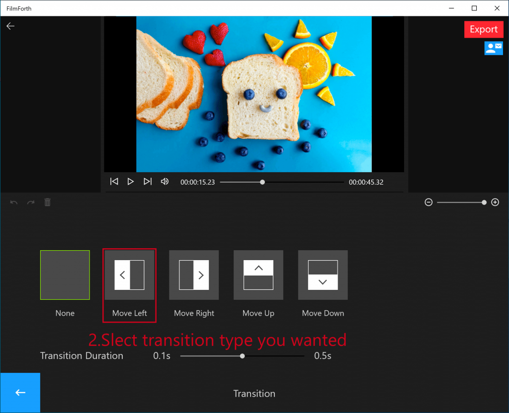 Add Transition To Videos With FilmForth