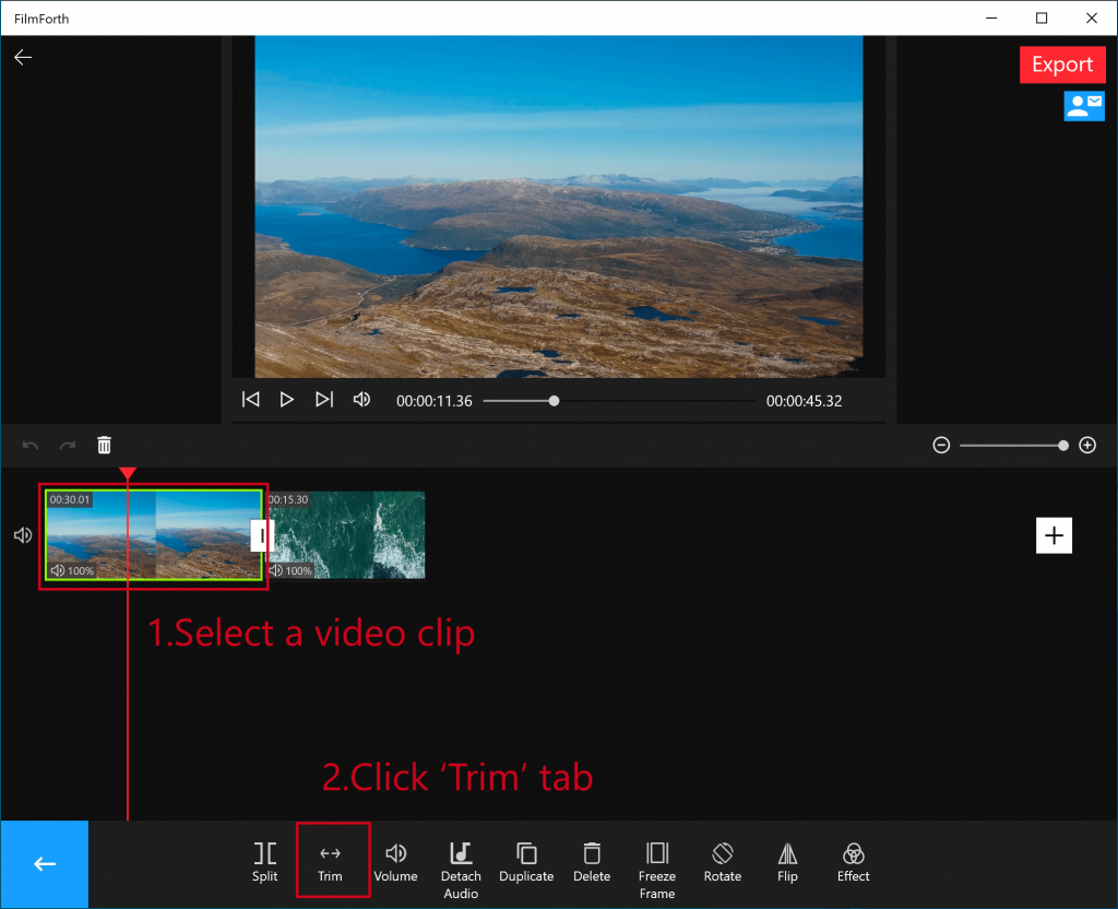 Trimming videos with FilmForth