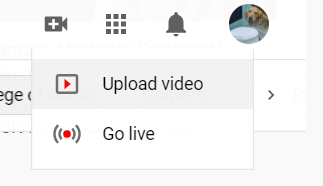 """Select """"Upload Video"""""""