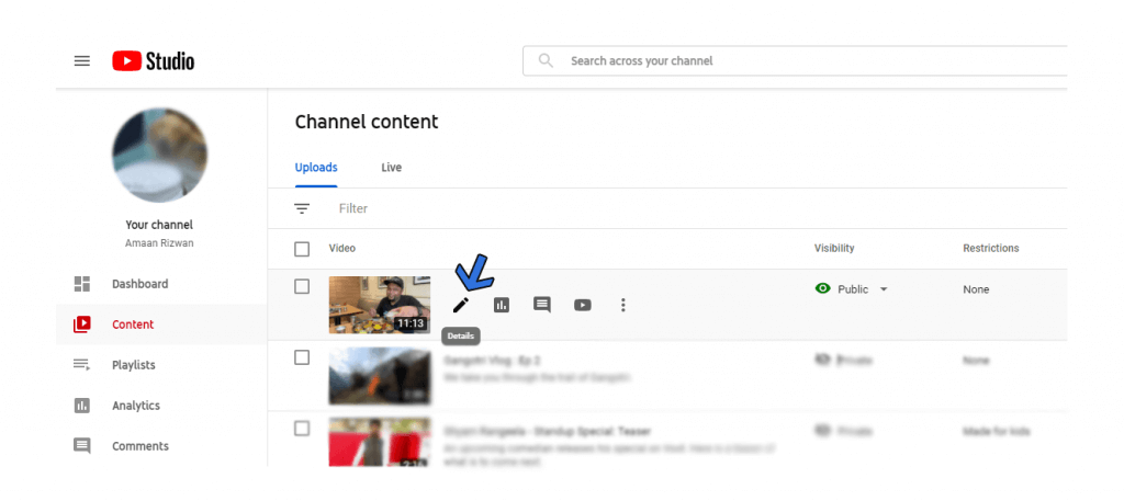 YouTube Content Section