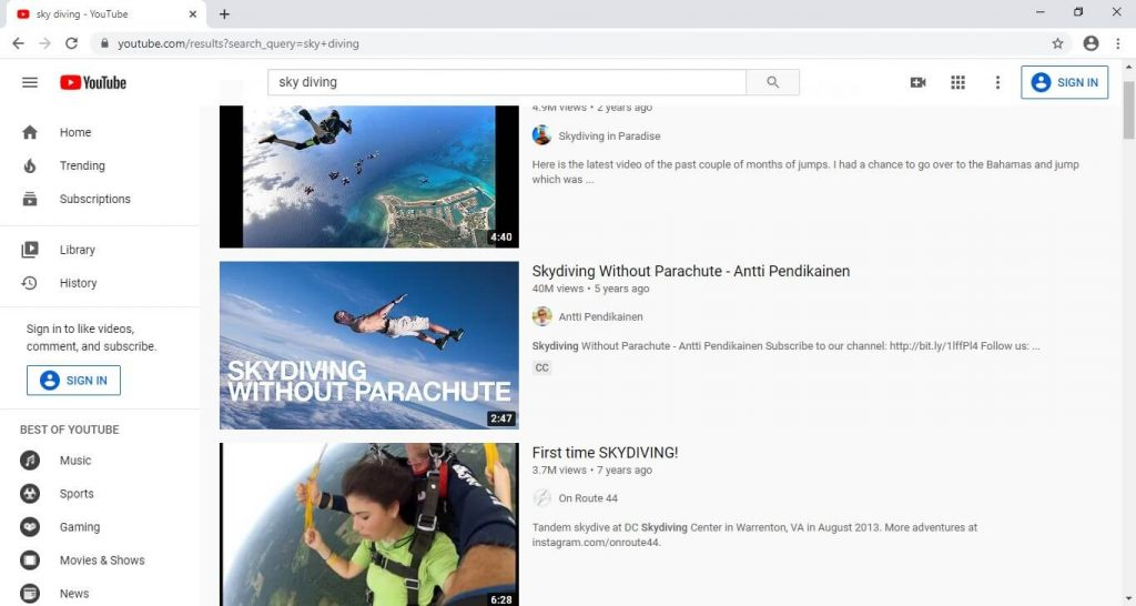 Search a Video on YouTube